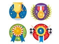 Set of rewards icons by Kit8 #Design Popular #Dribbble #shots