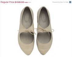 ON SALE Magie, Stone, White shoes, Flats, Gray shoes, Leather Shoes, Handmade Shoes