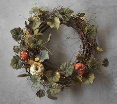 Lit Natural Pumpkin Wreath & Garland #potterybarn