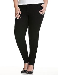 Genius Fit black skinny jean uses the power of LYCRA® dualFX denim for a flattering fit that stays true to your shape and never stretches out. Ultra-trendy and curve-hugging silhouette combines the comfort of leggings with classic denim details like five-pocket design, button & zip fly closure and belt loops. Wear them with your favorite top and killer heels for a fashion-forward ensemble. Mid rise.  Available in Petite and Tall sizes. <br /> <br /> <em /> lanebryant.com