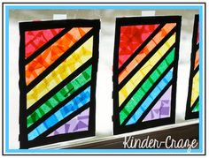 Rainbow window decorations made from contact paper and tissue paper.   I would try it with black construction paper and tissue paper