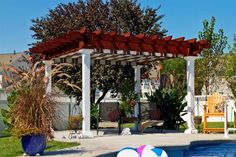 Amish Artisan Cedar Pergola Kit Here's a gorgeous spot to host outside. Cozy and built just for you. Available in lots of sizes. Create an outdoor room that's the hub of the parties! #pergolas #pergola #outdoorstructures