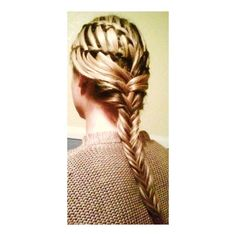 Double Waterfall Braid with Fishtail French Braid ❤ liked on Polyvore