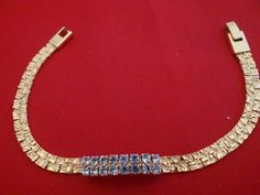 Vintage 75 free form gold bracelet with rhinestone by jeanmc, $20.00