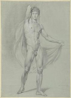 Staand mannelijk naakt, met een doek achter de rug, van voren gezien, Jean Grandjean, 1779