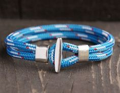 Bransoletka żeglarska - Linomania Niebieska - lina i metal