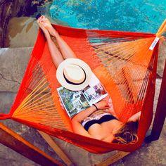 Summer relaxin color hammock, beach lounge, dream, backyardoutdoor idea, comfi hammock, hammocks, summer relax, hamaca, garden