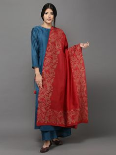 Nevy Blue Red Chanderi Cotton Suit - Set of 4