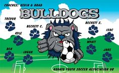 Bulldogs-44701  digitally printed vinyl soccer sports team banner. Made in the USA and shipped fast by BannersUSA. www.bannersusa.com