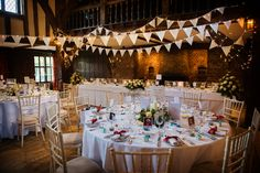 Bunting in the tithe barn. An Autumn wedding in the Orangery at Great Fosters. Juliet Mckee Photography at Great Fosters. An Autumn 2016 wedding. Great Fosters, Wedding Reception, Wedding Venues, Autumn Wedding, Brogues, Bunting, Real Weddings, Wedding Flowers, Barn