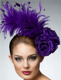 Purple fascinator.