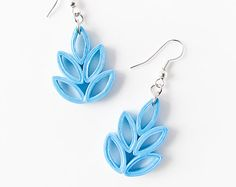Paper jewelry – Sky blue maple leaf paper quilled earrings – First year anniversary gift – Handmade eco-friendly lightweight paper earrings