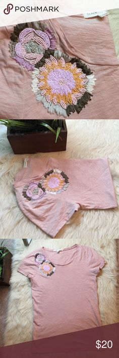 """J.crew cotton beaded- blossom tee. Brand new condition. 100% cotton. Gorgeous beading detail!!! Arm to arm approx 15"""". Shoulder to hem approx 22"""". Blush peach color. The stock photo is a different color but wanted to show modeled. J. Crew Tops Tees - Short Sleeve"""