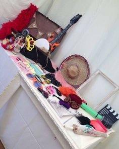 DIY photo booth prop hire £25 hire fee props, vintage suitcase and frames. Wedding party and event hire