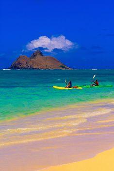 Sea kayaking, Lanikai Beach, Moku Lua Island in background, Oahu, Hawaii, USA  I had a blast at this place...