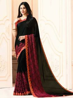 770fe84573 #Wonderful black floral print #saree is fabricated on #georgette with  #fancy patch