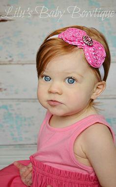Pink and White Polka Dot Shabby Bow Baby Headband Toddler Newborn Photo Prop Hot Pink Dot Shabby Bow on White Elastic Headband Bling Center on Etsy, $7.99
