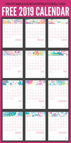 2019 Monthly Calendars With 12 Designs! - Printables and Inspirations Mom Planner, School Planner, Monthly Planner, Planner Pages, Monthly Calendars, Happy Planner, Planner Ideas, Free Printable Calendar, Calendar Pages