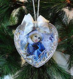 """Купить Подвеска сердце новогодняя """" Снегурочка"""" - новогодняя подвеска, новогоднее сердечко, бирочка -подвеска"""