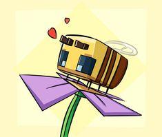 Minecraft Bee by on DeviantArt Minecraft Mobs, Minecraft Fan Art, Minecraft Tattoo, Colorful Drawings, Cute Drawings, Bee Drawing, Minecraft Drawings, Minecraft Wallpaper, Cute Bee