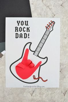 Printable Father's Day Guitar Template: 'You Rock Dad!' card idea featuring a handrint guitar shaped like the 'Rock on! Guitar Handprint You Rock Craft for Father's Day Kids Fathers Day Crafts, Fathers Day Art, Fathers Day Quotes, Happy Fathers Day, Gifts For Kids, Teen Gifts, Girl Gifts, Baby Fathers Day Gift, Diy Gifts For Grandma