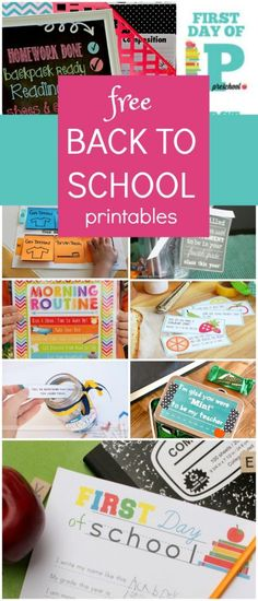 Free Back to School Printables-Save time and get ready for back to school with these first day of school signs, back to school checklist ideas, morning routine charts, after school ideas, first day teacher gifts, school lunch planning printables, lunchbox notes and more