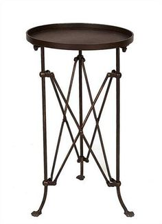 Rubbed Bronze Finish Metal End Table Round Metal Side Table, Metal End Tables, Metal Accent Table, Round Sofa, Living Room End Tables, Metal Trays, Bronze Finish, Metallica, Outdoor Dining Set