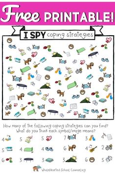 Teachers, School Counselors and Parents! Get this FREE I-Spy. Best Picture For Parenting Skills mo Coping Skills Activities, Counseling Activities, Therapy Activities, Play Therapy, Counseling Worksheets, Emotions Activities, Therapy Games, Therapy Tools, Therapy Ideas
