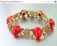 20% OFF - HUGE SALE Bold Vintage Antique Czech Art Deco Red Glass Bracelet with Rhinestones(Sale) on Etsy, $30.00