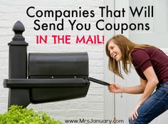 What's better than coupons? Coupons that come RIGHT to your home, free of charge! Here is a list of online companies that will send you coupons in the mail.