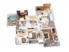Amazing 4 Bedroom Apartment Floor Plan 50 Four House Architecture Design 27 Layout Idea For Rent Near Me Chicago Toronto Melbourne Gold Coast In Md 3d House Plans, Dream House Plans, Small House Plans, 4 Bedroom House Designs, 4 Bedroom House Plans, Apartment Layout, Apartment Plans, Apartment Living, Home Map Design