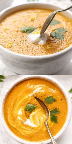 You'll love how easy this recipe is! This healthy Turmeric Carrot Soup recipe is vegan and oh so creamy. Plus it's anti-inflammatory and gut healing. Try it for dinner! and Drink meals Anti-Inflammatory Ginger & Turmeric Carrot Soup Easy Homemade Recipes, Easy Soup Recipes, Vegetarian Recipes, Dinner Recipes, Cooking Recipes, Puree Soup Recipes, Blended Soup Recipes, Healthy Recipes For Dinner, Brothy Soup Recipes