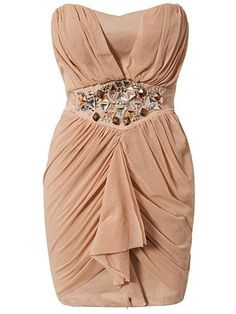 Draped Embellished Waist Strapless Dress