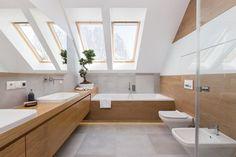 Dom w Jaworznie - Duża łazienka na poddaszu w domu jednorodzinnym z oknem, styl nowoczesny - zdjęcie od ORANGE STUDIO