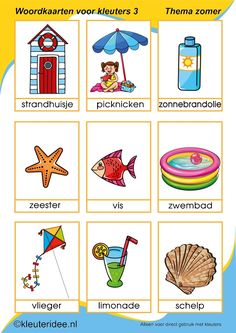 Nieuwe woordkaarten 3 voor kleuters, thema zomer, kleuteridee, free printable. Summer Activities For Kids, Summer Kids, Primary School, Pre School, Summer Decoration, Sequencing Pictures, Learn Dutch, Dutch Language, Learning Numbers