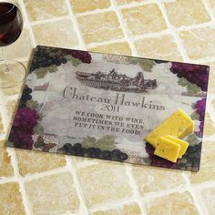 If there's a wine aficionado in your life, then here's the perfect gift! Customized vineyard label features name and year on a shatter-resistant tempered glass cutting board. Board has non-mar feet and protects surfaces from heat, scratches, and stains. Lillian Vernon, Kitchen Necessities, Glass Cutting Board, Cutting Boards, Gifts For Cooks, Crafts To Do, Kitchen Accessories, Gifts For Kids, Wine Glass