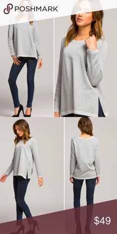 NEW! French Terry Heather Grey oversized top Super soft! Loose fit, round neck long sleeve French Terry Knit top. Size splits give this a more edgy look! Cozy and stylish meet in this closet must have in Heather Grey. Excellent quality made in USA. Limited quantity prices firm except if bundled. Tops