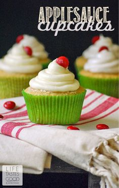 Applesauce Cupcakes | by Life Tastes Good are the taste of fall! #FlavorofFall #CollectiveBias #shop