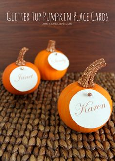 Easy to Create Glitter Top Pumpkin Place Cards for Fall or Thanksgiving entertaining  |  OHMY-CREATIVE.COM