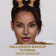 Promoted: Everyone will be fawning over this deer makeup look from L'Oréal Pa. Promoted: Everyone will be fawning over this deer makeup look from L'Oréal Paris Deer Halloween Costumes, Creepy Halloween Makeup, Halloween Looks, Pirate Costumes, Couple Halloween, Adult Costumes, Deer Costume Diy, Deer Costume Makeup, Turtle Costumes