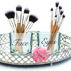 Contemporary Chic Makeup Brush Holder | Makeup Organize | Makeup Vanity | Makeup | Make up Organize | Face and Eyes | Make up Brush Holder by DesignerArtsLife on Etsy