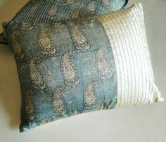 Block Printed Silk Pillow / Cushion Cover