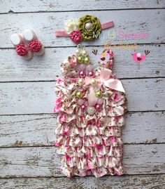 4pc Romper,  Headband, necklace, and sandals  Set - Floral Satin Romper - valentines outfit - Newborn Outfit - Baby Girl Outfit - Toddler