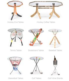 sports tables, man cave, furniture for men, hockey, baseball, basketball, tennis,golf, wine, coffee table, side table, end table