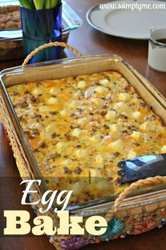Simple Egg Bake - Make it up the night before, for an easy breakfast in the morning. Great for a get together or a nice breakfast with family. @Sarah Chintomby Chintomby Chintomby Chintomby Chintomby Chintomby {Simply Me} The holidays are just around the corner, so...here you go; a great breakfast idea for a crowd!