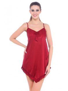 bc980fabd0 Fasense Women Satin Slip Nightwear Sleepwear Short Nighty DP058 A-free size  - Sleepwear -