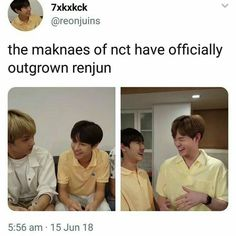 lmaooooo renjun ya still smol Nct Group, Park Ji-sung, Funny Kpop Memes, Yuta, Taeyong, Kpop Groups, Jaehyun, Bias Wrecker, Nct Dream