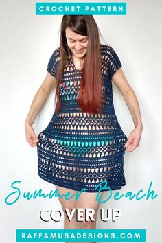 Get ready for summer with this breezy and airy crochet dress to wear over your bikini. The Summer Beach Cover Up is just the perfect bathing suit cover up to rock when the weather warms up! Featuring a stunning geometric lace pattern, this summer dress comes in sizes from XS to 5XL. Easily customize the pattern to your favorite length. The pattern includes step-by-step photos and detailed instructions on how to crochet the different stitches. Links to video tutorials are also included. Crochet Beach Dress, Crochet Summer Dresses, Summer Dress Patterns, Crochet Skirts, Crochet Tops, Skirt Pattern Free, Crochet Skirt Pattern, Free Crochet Dress Patterns, Crochet Ideas
