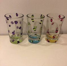 Painted Leopard Print Shot Glasses, Set of 3, Dishwasher Safe, Drink Glasses #Handmade