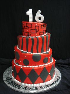 Red And Black Themed 16th Birthday Cake An Ideal Fit For Boys Girls Alike PartyFlavors
